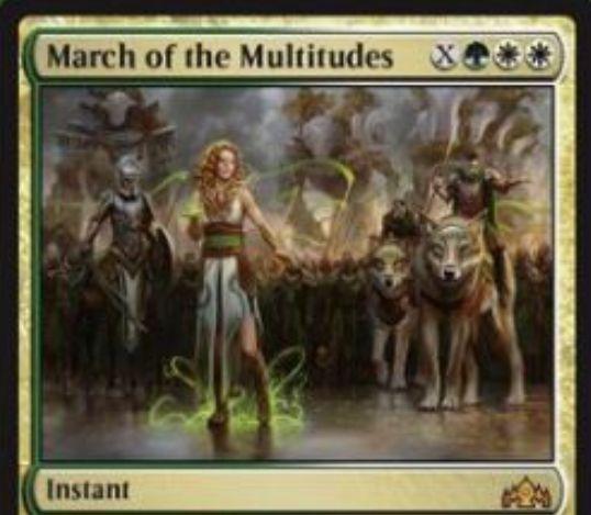 【ラヴニカのギルド】緑白の神話インスタント「March of the Multitudes」が公開!緑白白XでX体の絆魂持ち1/1白兵士トークンを生成!召集によるコスト軽減も可能!