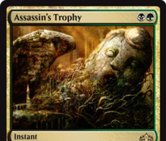 【ラヴニカのギルド】黒緑のインスタント「Assassin's Trophy」が公開!黒緑で対戦相手のパーマネント1つを破壊し、基本土地をプレゼントする汎用パーマネント除去!