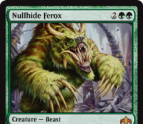 【ラヴニカのギルド】緑神話のビースト「Nullhide Ferox」が公開!4マナ6/6呪禁だが、あなたは非クリーチャー呪文を唱えられなくなる!誰でも2マナで「Nullhide Ferox」をバニラに出来る!対戦相手によって手札から捨てた際に戦場に出る能力も!