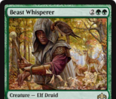 【ラヴニカのギルド】緑レア生物「Beast Whisperer」が公開!緑緑2で2/3&あなたがクリーチャー呪文を唱えるたびにカード1枚をもたらすエルフ・ドルイド!