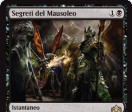 【ラヴニカのギルド】黒レアの宿根持ちインスタント「Secrets of the Mausoleum(英仮名)」が公開!黒1でライブラリーから自墓地生物枚数以下のマナコストの黒カードを探して手札に加えるサーチ・カード!