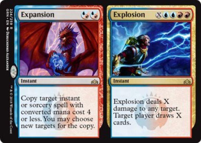 【ラヴニカのギルド】青赤の分割スペル「Expansion/Explosion」が公開!青赤の混成2マナで4マナ以下のスペルをコピーか、青青赤赤Xで好きな対象にXダメージを与えつつXドローかを選べるレアのイゼット分割インスタント!