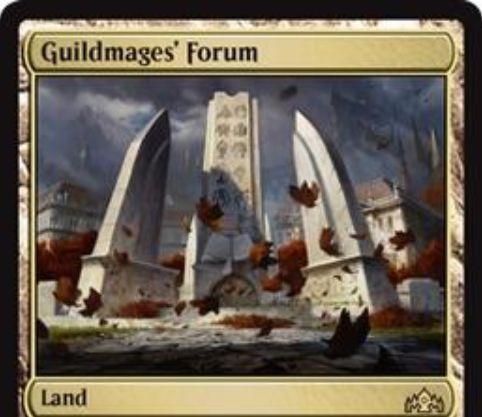 【ラヴニカのギルド】レア土地「Guildmages' Forum」が公開!不特定マナ1点&タップで好きな色マナ1点を生産!このマナを多色クリーチャーを唱えるために使えば、そのクリーチャーは追加の+1/+1カウンターとともに戦場に出る!