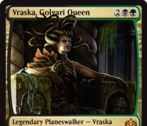 【ラヴニカのギルド】ゴルガリの新ヴラスカ「Vraska, Golgari Queen」が公開!4マナで初期忠誠値4を持ち、【+2】でパーマネントを生贄に捧げれば1点ライフ回復&1ドローし、【-3】で突然の衰微を放ち、【-9】で自生物がプレイヤーにダメージを通せば勝利の紋章を得るプレインズウォーカー・ヴラスカ!