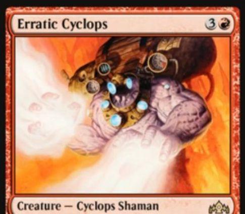 【ラヴニカのギルド】赤レア生物「Erratic Cyclops」が公開!4マナ0/8トランプル&あなたが唱えたスペルのマナコスト点数だけパワーが上昇するサイクロプス・シャーマン!