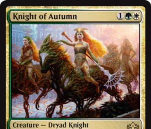 【ラヴニカのギルド】緑白のレア生物「Knight of Autumn」が公開!3マナ2/1&ETBで「このカードに2個+1/+1カウンターを置く」か「帰化」か「4点ライフを得る」を選べるドライアド騎士!