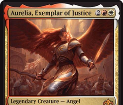 【ラヴニカのギルド】ボロスの新オレリア「Aurelia, Exemplar of Justice」が公開!4マナ2/5飛行・教導&あなたの戦闘開始時に自軍クリーチャー1体のパワーを2増やしつつ赤なら「トランプル」を、白なら「警戒」を付与する伝説神話天使!