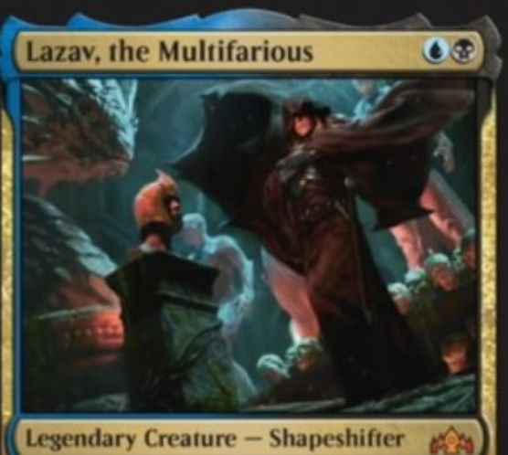 【ラヴニカのギルド】ディミーアの新ラザーヴ「Lazav, the Multifarious」が公開!2マナ1/3&ETBで諜報1&Xを支払ってあなたの墓地のXマナ生物のコピーになれる伝説神話多相の戦士!