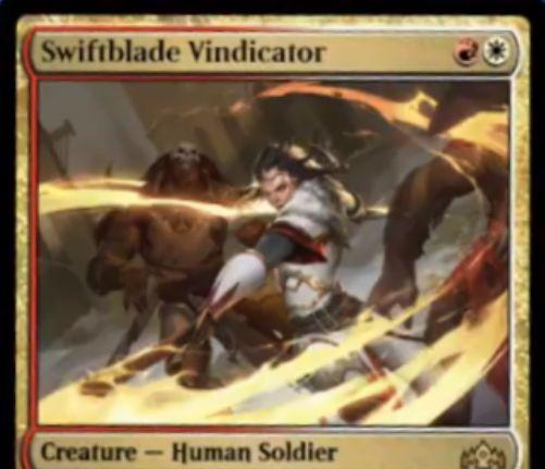 【ラヴニカのギルド】赤白レア生物「Swiftblade Vindicator」が公開!2マナ1/1二段攻撃・警戒・トランプルの人間兵士クリーチャー!