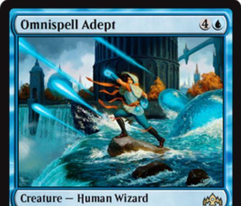【ラヴニカのギルド】青レア生物「Omnispell Adept」が公開!5マナ3/4&青2・タップで手札のインスタントかソーサリーをノーコストで唱えられる人間ウィザード!