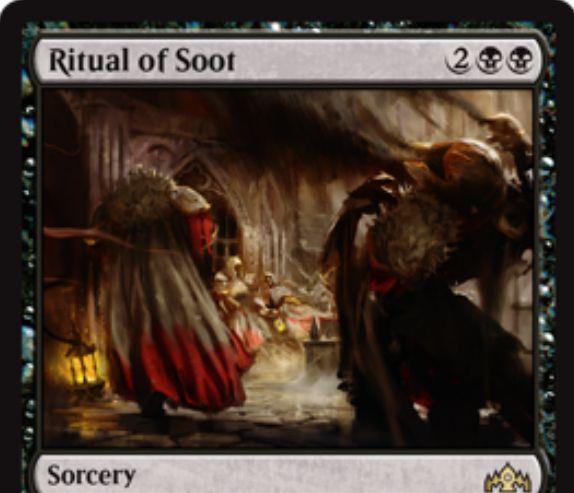【ラヴニカのギルド】黒レアのソーサリー「Ritual of Soot」が公開!黒黒2で3マナ以下の全クリーチャーを破壊!