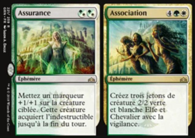 【ラヴニカのギルド】緑白のレア分割呪文「Assurance/Association」が公開!混色2マナで対象生物に+1/+1カウンターを1個置きつつ破壊不能にするか、緑白4で緑白で警戒の2/2エルフ騎士トークン3体を生成するかを選ぶセレズニアの分割インスタント!