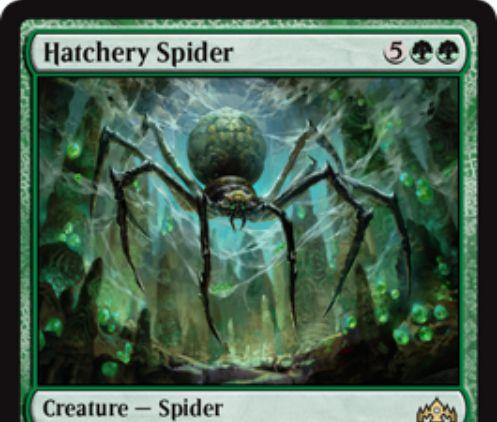 【ラヴニカのギルド】緑レアの蜘蛛「Hatchery Spider」が公開!7マナ5/7到達&宿根能力でライブラリートップX枚を公開し、Xマナ以下の緑パーマネントを戦場に出せる!