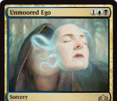 【ラヴニカのギルド】漂流自我(Unmoored Ego)が公開!青黒1でカード名を1つ指定し、相手の手札&ライブラリー&墓地からそのカードを4枚まで追放するソーサリー!