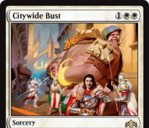【ラヴニカのギルド】白レアのソーサリー「Citywide Bust」が公開!白白1でタフネス4以上のクリーチャーを全破壊する!