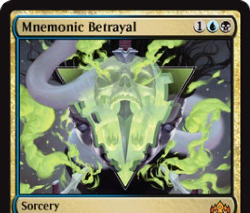 【ラヴニカのギルド】青黒神話ソーサリー「Mnemonic Betrayal」が公開!青黒1で唱え相手の全墓地を追放し、それらのカードを色マナ無視で唱えられるようにするディミーア版「ヨーグモスの意志」!