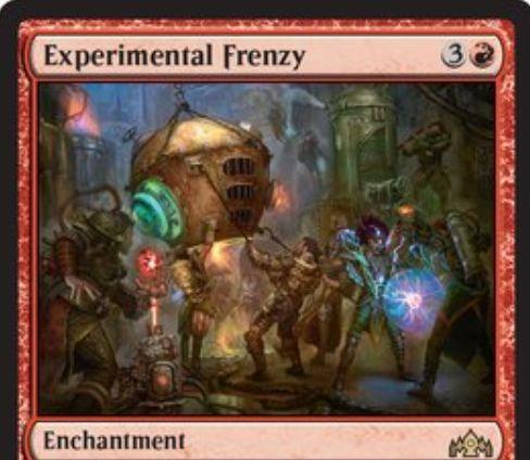 【ラヴニカのギルド】赤レアのエンチャント「Experimental Frenzy」が公開!赤3で設置し、ライブラリートップをいつでも見て唱えられるようにする代わり、手札からは呪文をプレイできなくする!赤3を支払って自壊させる効果も!