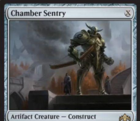 【ラヴニカのギルド】レアの機械生物「Chamber Sentry」が公開!Xマナ0/0で、唱えるために使った色マナの種類数の+1/+1カウンターとともに戦場に出る!Xマナ・タップ・X個の+1/+1カウンターを取り除いて好きな対象にXダメージを飛ばし、5色マナを支払えば墓地から手札に戻せる構築物アーティファクト・クリーチャー!