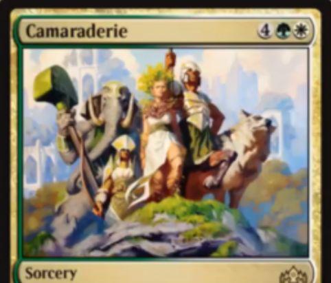 【ラヴニカのギルド】緑白のソーサリー「Camaraderie」が公開!緑白4で唱え、自軍生物の数だけXライフゲイン&Xドローし、自軍生物をターン中+1/+1する!