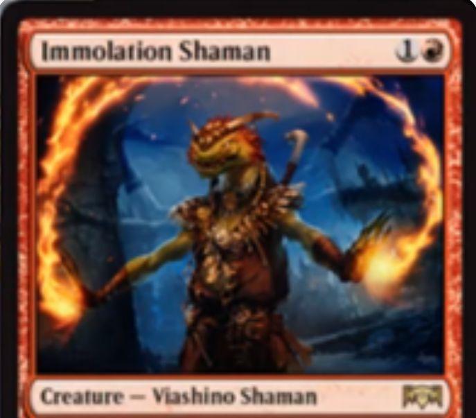 【ラヴニカの献身】赤レア生物「Immolation Shaman」が公開!2マナ1/3&起動型能力を使用した対戦相手に1ダメージ&5マナで+3/+3修正と威迫を得るヴィーアシーノ・シャーマン!