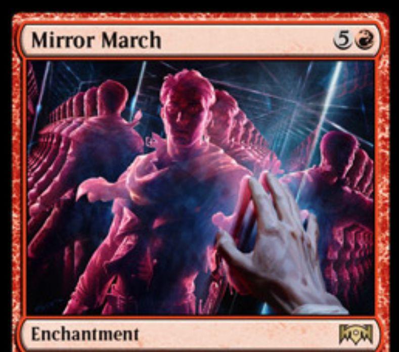 【ラヴニカの献身】赤レアのエンチャント「Mirror March」が公開!自軍生物が戦場に出るたびコイン投げに負けるまでコイン投げをし、勝った数だけ速攻持ちのコピー・トークンを生成!