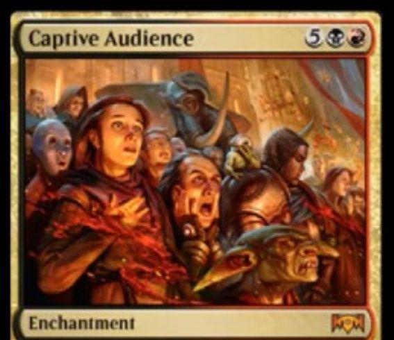 【ラヴニカの献身】ラクドスの神話エンチャント「Captive Audience」が公開!7マナで相手の戦場に出て、コントローラーに3ターンかけて3種の不利益をもたらす!