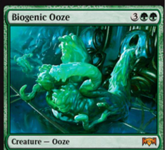 【ラヴニカの献身】緑の神話ウーズ「Biogenic Ooze」が公開!5マナ2/2&ETBや起動型能力で2/2ウーズを出す&自終了ステップに全ウーズに+1/+1カウンターを置く!