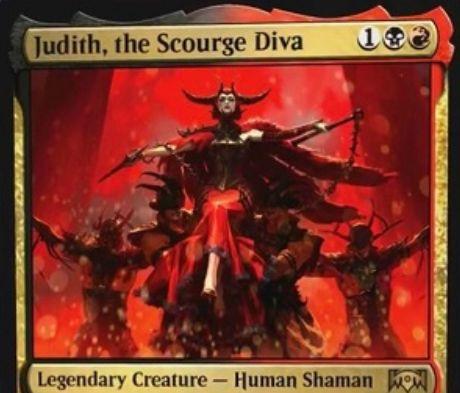 【ラヴニカの献身】ラクドスのレア生物「Judith, the Scourge Diva」が公開!他の生物をパワー強化&他の非トークン生物の死亡時に1点ダメージを好きな対象に飛ばす伝説の人間シャーマン!