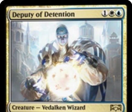 【ラヴニカの献身】アゾリウスのレア生物「Deputy of Detention」が公開!3マナ1/3&ETBで非土地のパーマネントを一時追放し、同名パーマネントも一時追放するヴィダルケン・ウィザード!
