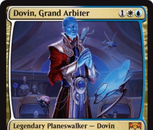 【ラヴニカの献身】新ドビン「Dovin, Grand Arbiter」が公開!アゾリウス3マナで初期忠誠値3を持つ伝説のプレインズウォーカー!