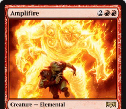【ラヴニカの献身】赤レアのエレメンタル「Amplifire」が公開!4マナ1/1&自アップキープにライブラリートップを生物が出るまで公開し、公開された生物の2倍のパワーとタフネスを得る赤クリーチャー!