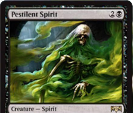 【ラヴニカの献身】黒レアのスピリット「Pestilent Spirit」が公開!3マナ3/2威迫・接死&あなたのスペルに「接死」を付与!