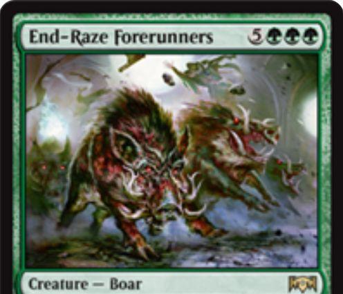 【ラヴニカの献身】緑レアの猪「End-Raze Forerunners」が公開!8マナ7/7警戒・トランプル・速攻&ETBで他のクリーチャーに+2/+2と警戒とトランプルを付与する!