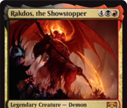 【ラヴニカの献身】新ラクドス「Rakdos, the Showstopper」が公開!6マナ6/6飛行・トランプル&ETBで悪魔系以外の各クリーチャーに対してコイン投げを行い、当てたクリーチャーを破壊する黒赤の伝説神話デーモン!