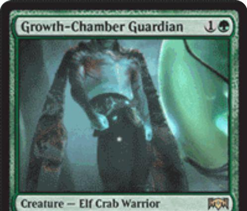 【ラヴニカの献身】緑レア生物「Growth-Chamber Guardian」が公開!2マナ2/2&3マナで順応2&+1/+1カウンターが置かれると同名カードをサーチするエルフカニ戦士!