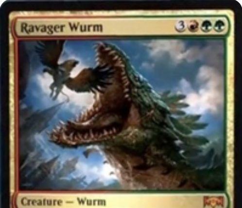 【ラヴニカの献身】ラクドスの神話ワーム「Ravager Wurm」が公開!6マナ4/5暴動&ETBで「他のクリーチャーと格闘」か「起動型能力を持つ土地を破壊」かを選べる!