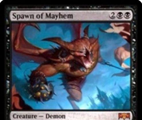 【ラヴニカの献身】黒の神話デーモン「Spawn of Mayhem」が公開!4マナ4/4飛行・トランプル&絢爛でマナコストが3マナに&自アップキープに各プレイヤーに1点ダメージを飛ばし、あなたのライフが10以下なら+1/+1カウンターを得る!