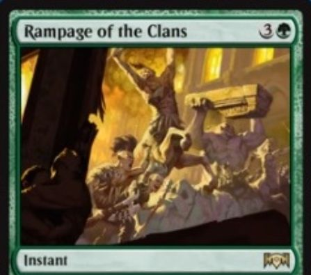 【ラヴニカの献身】緑レアのインスタント「Rampage of the Clans」が公開!4マナですべてのエンチャントとアーティファクトを破壊し、破壊したパーマネント1つにつき3/3の緑ケンタウルストークンをコントローラーの元に生成!