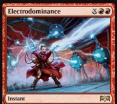 【ラヴニカの献身】赤レアのインスタント「Electrodominance」が公開!赤赤Xで好きな対象にXダメージを飛ばしつつ、手札からマナコストX以下のカードをコスト不要で唱えられるようにする!