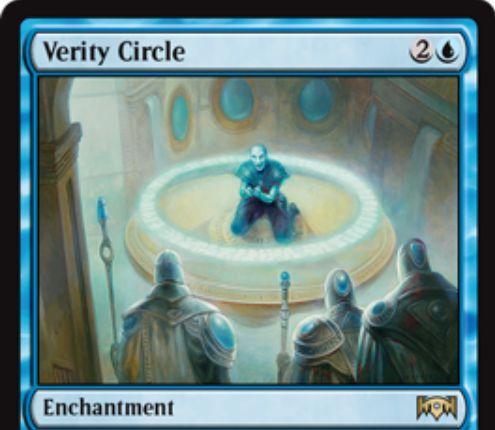 【ラヴニカの献身】青レアのエンチャント「Verity Circle」が公開!アタック以外で相手のクリーチャーがタップ状態になるたびドロー!青4を支払って飛行を持たないクリーチャーをタップする起動型能力も!