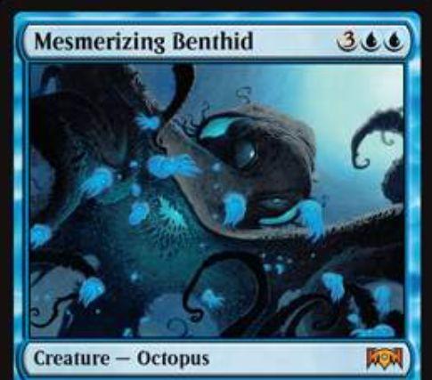 【ラヴニカの献身】青神話のタコ「Mesmerizing Benthid」が公開!5マナ4/5&ETBで相手生物のアンタップを阻害するイリュージョンを生成&自軍にイリュージョンがいれば呪禁を得るクリーチャー!