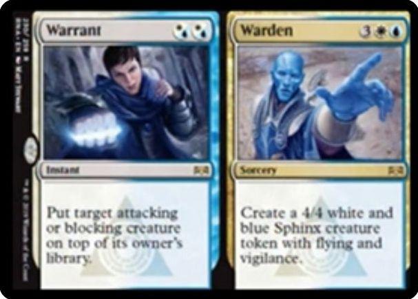 【ラヴニカの献身】アゾリウスのレア分割カード「Warrant/Warden」が公開!対象のアタック生物orブロック生物をライブラリートップに置くか、4/4飛行・警戒のスフィンクス・トークンを生成するかを選べる!