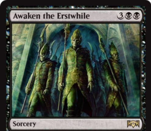 【ラヴニカの献身】黒レアのソーサリー「Awaken the Erstwhile」が公開!黒黒3で各プレイヤーはすべての手札を捨て、捨てた数だけ2/2のゾンビ・トークンを生成する!