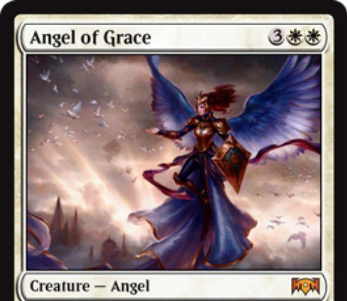 【ラヴニカの献身】白神話天使「Angel of Grace」が公開!5マナ5/4飛行・瞬速&ETBでターン終了時まで「崇拝」状態に!白白4を支払って墓地から追放することでライフを10点にする起動型能力も!