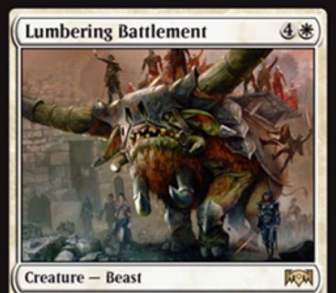 【ラヴニカの献身】白レアのビースト「Lumbering Battlement」が公開!5マナ4/5警戒&ETBで自軍の非トークン生物を好きなだけ一時追放し、追放したクリーチャーの数だけ+2/+2の修正を受ける!
