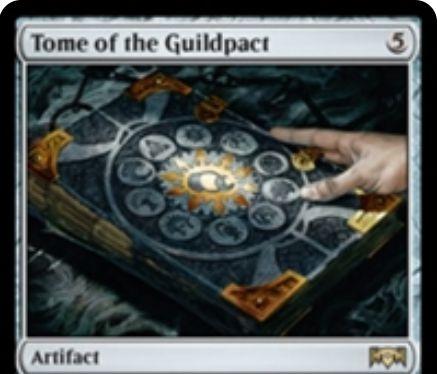 【ラヴニカの献身】レアのアーティファクト「Tome of the Guildpact」が公開!5マナで設置し、あなたが多色呪文をとなえるたびにドロー!タップで好きな色マナを生産!