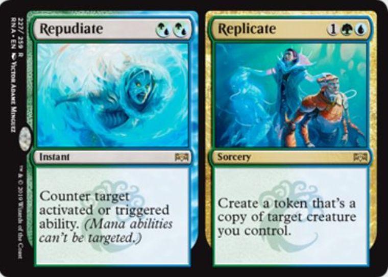 【ラヴニカの献身】シミックのレア分割カード「Repudiate/Replicate」が公開!《もみ消し》か自軍生物のコピー・トークン生成かを選べる!