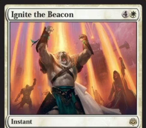 【灯争大戦】白レアのインスタント《Ignite the Beacon》が公開!白4でライブラリーからPWを2枚までサーチしてハンドに加える!