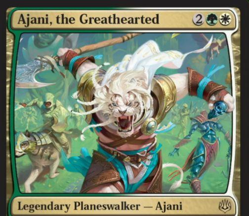 【灯争大戦】新アジャニ「Ajani, the Greathearted」が公開!緑白2で初期忠誠値5のレア・プレインズウォーカー!