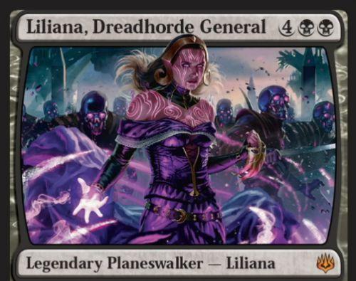 【灯争大戦】新リリアナ「Liliana, Dreadhorde General」が公開!黒黒4で初期忠誠値6の神話プレインズウォーカー!
